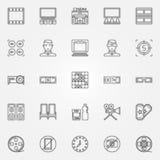 Cinema icons set. Vector thin line movie house symbols or logo elements Royalty Free Stock Image