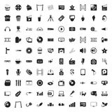 Cinema 100 icons set for web. Flat royalty free illustration