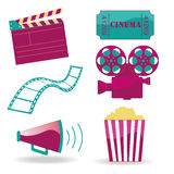 Cinema icons. Six different and colored icons for cinema in white background Royalty Free Stock Image