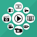 Cinema Icons vector design. Video concept with  movie icons design, vector illustration 10 eps graphic., Vector design Stock Photography