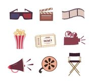 Cinema icons vector set Royalty Free Stock Photos