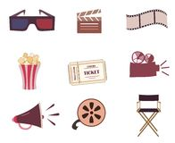 Cinema icons vector set isolated Stock Image
