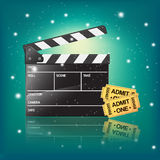Cinema illustration with clapper Stock Photography