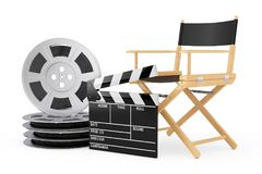 Cinema Industry Concept. Director Chair, Movie Clapper and Film. Reels on a white background. 3d Rendering Stock Photos