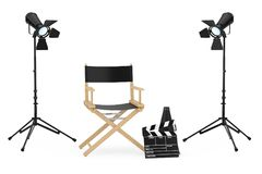 Cinema Industry Concept. Director Chair, Movie Clapper and  Spot. Lights on a white background. 3d Rendering Stock Images