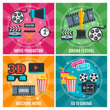 Cinema Industry Concept. With production awards and festivals watch film visit to movie theater  vector illustration Stock Photo