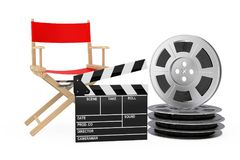 Cinema Industry Concept. Red Director Chair, Movie Clapper and F. Ilm Reels on a white background. 3d Rendering Stock Photo