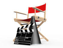Cinema Industry Concept. Red Director Chair, Movie Clapper and M. Egaphone on a white background. 3d Rendering Royalty Free Stock Photography