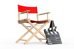 Cinema Industry Concept. Red Director Chair, Movie Clapper and M. Egaphone on a white background. 3d Rendering Stock Photography