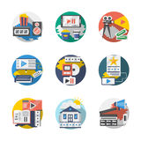 Cinema industry detailed flat icons set Stock Images