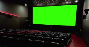 Cinema Interior Of Movie Theatre With Empty Red Seats With Copyspace On The Chroma Key Green Screen And Glow On Edge Concept Stock Footage Video Of Seats Green 106486620