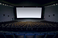 Cinema interior with screen and seats. Horizontal Stock Photo