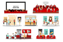 Cinema interior set. Screen and rows with audience, tickets and posters, cinema bar.  icons on white background Stock Photo