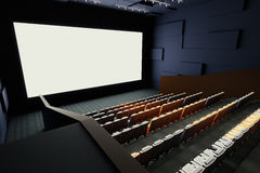 Cinema interior side. Side view of cinema hall interior with rows of seats, patterned walls, ceiling with lamps and blank white screen. Mock up, 3D Rendering Royalty Free Stock Photography
