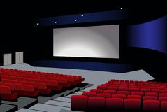 Cinema interior vector Royalty Free Stock Photo