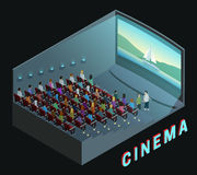 Cinema Interior View Isometric Composition Poster. Cinema movie theater indoor auditorium isometric view poster with  watching action film audience abstract Stock Images