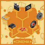 Cinema isometric concept icons. Vector illustration, EPS 10 Royalty Free Stock Photo