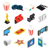 Cinema isometric 3d icons set. Isolated on white background Stock Images