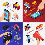 Cinema Isometric Design Concept. Cinema 3d isometric design concept with smartphone location and ticketing apps seats reel and filming equipment vector Royalty Free Stock Photos