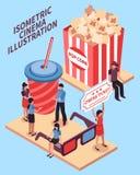 Cinema Isometric Design Concept Stock Photography