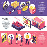 Cinema Isometric Horizontal Banners. With elements of cinematography equipment auditorium screen and people with popcorn vector illustration Stock Photography