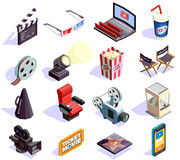 Cinema Isometric Icons Set. Cinema hall and movie making isometric icons set isolated on white background 3d vector illustration Stock Photography