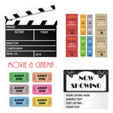 Cinema Items. Image of a movie tickets, clipboard and sign isolated ona white background Stock Image