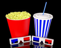 Cinema kit. 3d glasses with popcorn and soda drink royalty free stock images