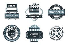 Cinema Label Set. Cinema icon set in the form of labels, stickers or logos in black and white in different shapes vector illustration Stock Images