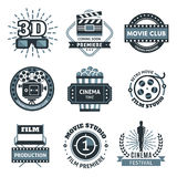 Cinema Label Set. Cinema icon set in the form of labels, stickers or logos in black and white in different shapes vector illustration Stock Photos