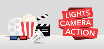 Cinema lights camera action flat vector Stock Images