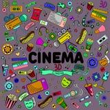 Cinema line art design vector illustration Stock Images