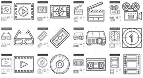 Cinema line icon set. Cinema vector line icon set isolated on white background. Cinema line icon set for infographic, website or app. Scalable icon designed on Stock Photo