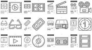 Cinema line icon set. Stock Photo