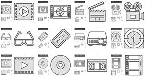 Cinema line icon set. Cinema vector line icon set isolated on white background. Cinema line icon set for infographic, website or app. Scalable icon designed on Stock Images