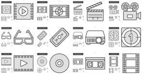 Cinema line icon set. Stock Images