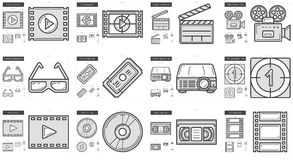 Cinema line icon set. Cinema vector line icon set isolated on white background. Cinema line icon set for infographic, website or app. Scalable icon designed on Stock Photos