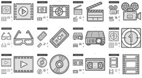 Cinema line icon set. Cinema vector line icon set isolated on white background. Cinema line icon set for infographic, website or app. Scalable icon designed on Royalty Free Stock Images