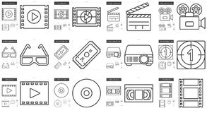 Cinema line icon set. Cinema vector line icon set  on white background. Cinema line icon set for infographic, website or app. Scalable icon designed on a grid Royalty Free Stock Photo