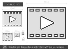 Cinema line icon. Cinema vector line icon isolated on white background. Cinema line icon for infographic, website or app. Scalable icon designed on a grid Royalty Free Stock Photography