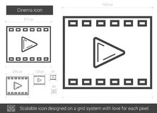 Cinema line icon. Cinema vector line icon isolated on white background. Cinema line icon for infographic, website or app. Scalable icon designed on a grid Stock Image