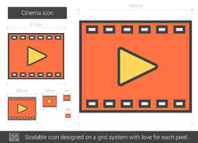 Cinema line icon. Cinema vector line icon isolated on white background. Cinema line icon for infographic, website or app. Scalable icon designed on a grid Royalty Free Stock Photos