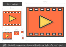 Cinema line icon. Cinema vector line icon isolated on white background. Cinema line icon for infographic, website or app. Scalable icon designed on a grid Royalty Free Stock Image