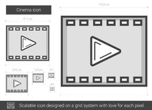 Cinema line icon. Cinema vector line icon isolated on white background. Cinema line icon for infographic, website or app. Scalable icon designed on a grid Royalty Free Stock Photo