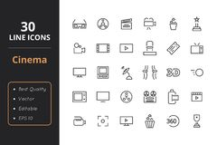 30 Cinema Line Icons. High quality cinema line icons. Icons for user interfaces and web Stock Photo