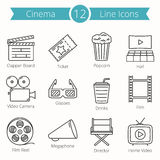 Cinema Line Icons Royalty Free Stock Photography