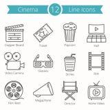 Cinema Line Icons. Set of 12 cinema line icons Royalty Free Stock Photography
