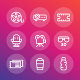 Cinema line icons set Stock Images