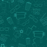 Cinema line pattern. Cinema line seamless green pattern. Background with movie objects Stock Image