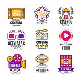 Cinema since 1895 logo design set, video symbols in retro retro style vector Illustrations. On a white background Stock Image